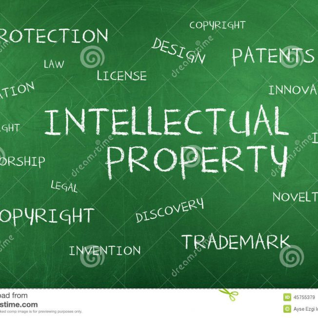 Intellectual property background concept word cloud chalkboard 45755379